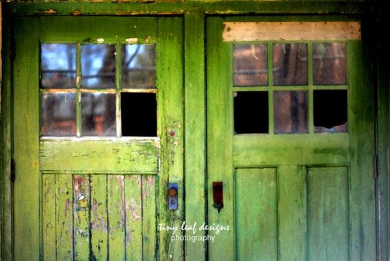Weathered Green Doors Broken Windows Fine Art Photography 5x7 8x10 11x14