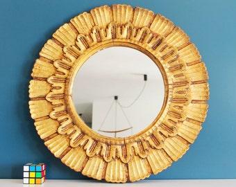 Wooden gilt sunburst mirror, mid century vintage 50s-60s.