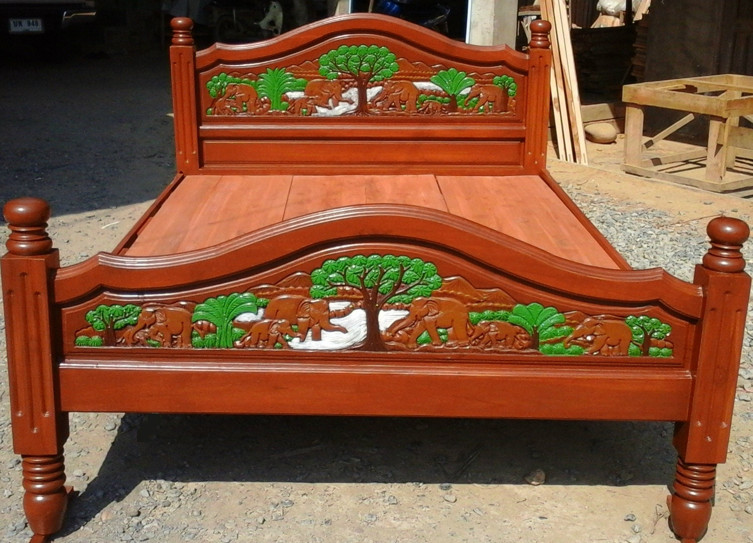 Superb img of Modern king & queen size carving teak wood platform bed by Edvena with #B24317 color and 1500x1081 pixels