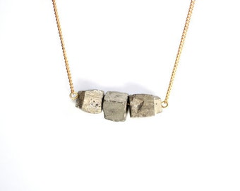 """WT-N480 Raw natural cube pyrite nugget necklace in 18"""" long"""