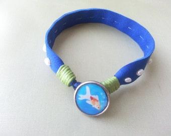 Blue leather bracelet, Summer bracelet, Charm bracelet