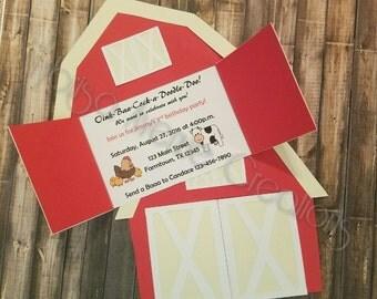 12 Farm Theme Birthday Invitations - Farm Animal Birthday Invitations - Barn Theme Birthday Invitations