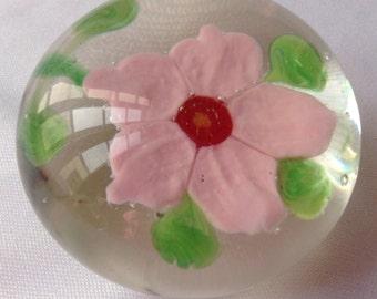 Paperweight, Glass Pink Flower Paperweight