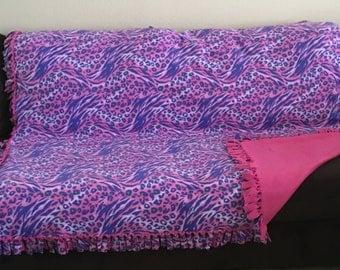 Animal Print Pink and Lavender No Sew Fleece Blanket