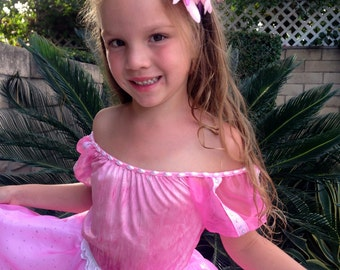Ariel Pink dress Costume for Girls Size 2T,3T,4,5,6,7,8,9,10,12,14Y