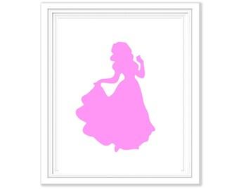 Set of 5 Pink Disney Princess Silhouettes - Digital Printables 8x10