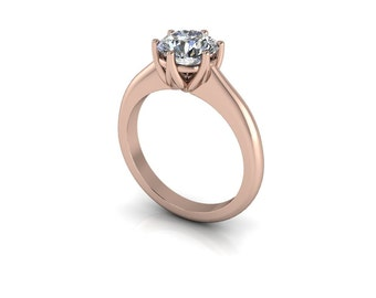 Forever One Round Brilliant Moissanite Half-Round Shank Tulip-Prong Solitaire Engagement Ring