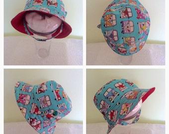 Kids summer hat, bucket hat, sun hat - 1-3 years, adjustable chin strap, camper vans cotton with red cotton lining
