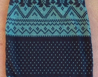 Girls and Toddlers Knit Pencil  Fair Isle Blue  Winter Knit Fabric