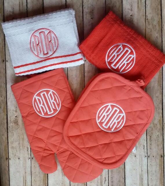 3 Letter Monogrammed Kitchen Towel Set By StitchnCafe On Etsy