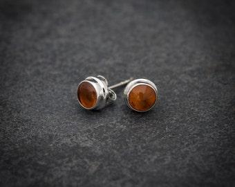 Amber Earrings, Silver Stud Earrings, Round Amber Studs, Orange Earrings, Semi Precious Stone, Gemstone Earrings, Sterling Silver, 925