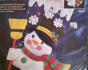 Vintage Bucilla Bucilla Jolly Snowman Bucilla Felt Applique Stocking Bucilla New Kits Bucilla Christmas Kits OOP