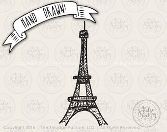 Eiffel Tower SVG Cut File, Paris SVG Cutting File, Hand Lettered, Silhouette, Cricut, Clip Art, Paris, France, Landmark Graphic Overlay