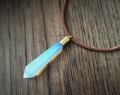 KIDA ⋯ Atlantis Opalite Iridescent Crystal Point Cosplay Kida Pendant Gold Brown Faux Suede Cord