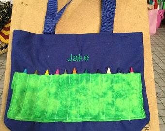 Personalized crayon bag