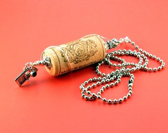 Wine Cork Necklace, Wine Charm Necklace, Wine Enthusiast Necklace, Upcycled Wine Cork Necklace, Wine Country Necklace, Party Favor