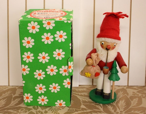 Vintage Wood Santa Clause Insense Smoker Holzgalanterie Made in W-Germany