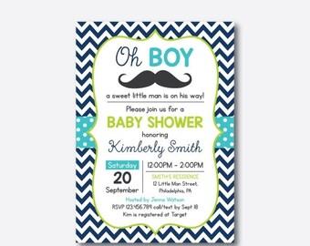 Mustache Baby Shower Invitation, Mustache Invitation, Little Man, Boy Baby Shower, Navy Blue Chevron, Baby Sprinkle, Personalized (SBS.28)
