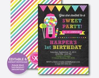 Instant Download, Editable Sweet Shoppe Birthday Invitation, Sweet Shoppe Party Invitation, Candyland Invitation, Girl, Chalkboard (CKB.85)