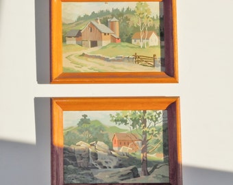 Paint by Number / Passive Peaceful Vintage Handmade Art / Original Concave Wooden Frames