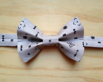 Grey and Black Symbols bowtie