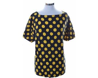 Valentino Womens Top Blouse Size 6 Large Black Yellow Cotton Swimwear