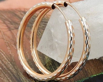 Sizing Creole diamond 925 silver, rose gold plated