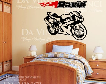 Motorcycle Sportbike Racing Bike Wall Room Custom Name Vinyl Wall Decal Sticker