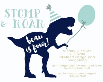 Simple Stomp and Roar T-Rex Dinosaur Birthday Invitations Navy and Blue Balloon-FREE SHIPPING or DIY printable