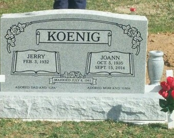 """Cemetery Headstone gray granite  36 x 6 x 20"""" with 2 4 x 10"""" turned gray vases as shown includes engraving"""