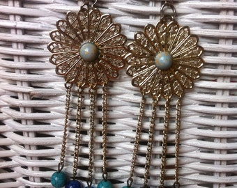 Blue and gold filigree earrings, Recycled earrings, Assemblage earrings, blue beads,statement earrings,gold filigree flower, dangle earrings