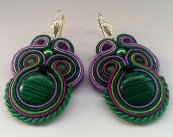 Soutache Earrings Green - Violet with Malachite