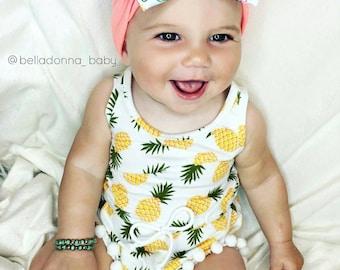 Girls (NB-12Y) Pineapple Pom Pom Romper. White. Playsuit. Onsie. Toddler. Newborn. Spring Summer