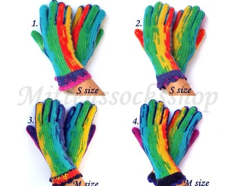 Rainbow Gloves with Fingers Women's Wool Gloves with Fingers Rainbow Girl's Gloves with Fingers Hand Knitted Finger Gloves Knitted Gloves