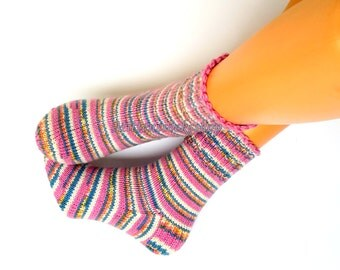 Pink Blue White Hand Knitted Socks Pink Blue White Striped Socks Pink Blue Women's Socks Girl's Socks Men's Socks Winter Socks Warm Socks