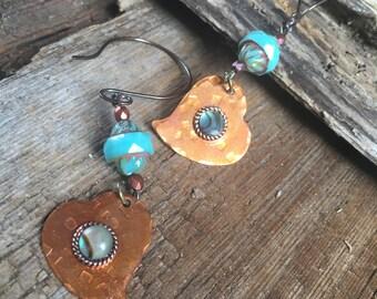 copper heart with turquoise abalone shell earrings, copper boho earrings, heart jewelry, love gift for her, copper turquoise, shell earrings