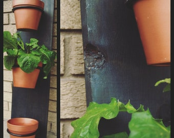 Indoor Vertical Wall Planter - Handmade - Navy Blue Stained Oak with Copper Painted Terracotta Pots, plants, garden, grow, urban, wall decor