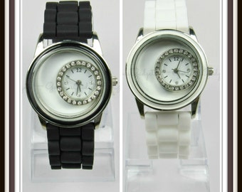 Floating Locket Watch with Silicone Band
