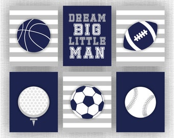 Boy Room Sports Decor, Sports Nursery Wall Art, Football, Baseball, Dream Big Little Man Quote, Navy Blue, Set of 6, 8х10, Instant download