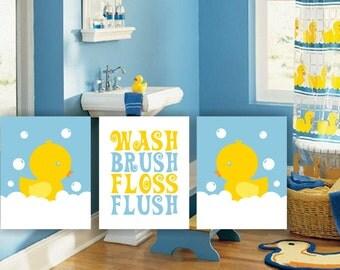 duck bathroom wall decor wash brush flush yellow and blue printable