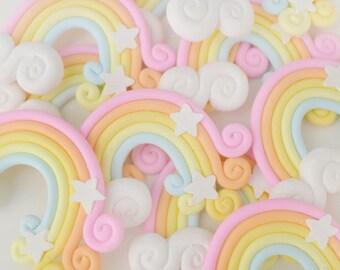 55mm HUGE Kawaii Rainbow Decoden Cabochon - 2 piece set