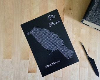Raven Print // Black Poster // A4 Unframed // Literature // Edgar Allan Poe // Art // Goth // Gothic Home