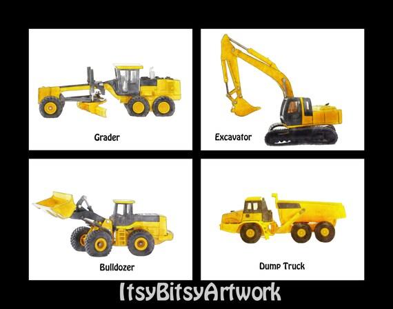 Construction Vehicles Boy Art Print Digital Watercolor Decor