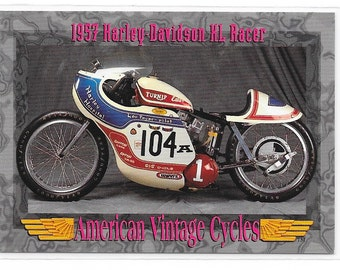 American Vintage Cycles 1957 Harley Davidson XL Racer Trading Card from 1993