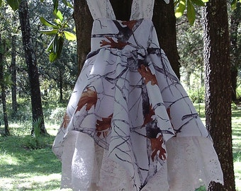 Made with White  Spring to fall Camo & Lace handkerchief hem sundress.  Select option for sizes.