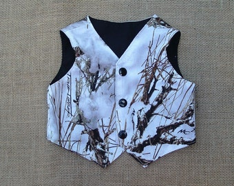 Boys and Men Vest (TT  White Snow  shown in pic #13 in fabric selection  Also 22 other camo colors