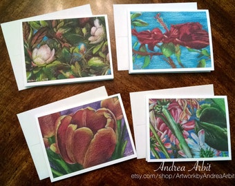Floral Drawings - Pack of Four Blank A2 Notecards - Colored Pencil Art Prints