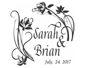 Floral Custom Wedding Stamp - C646