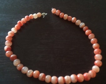 Coral/peach 45 piece glass bead necklace