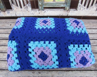 Large Vintage Blue Granny Square Rug - Crochet Rug - Throw - Afghan